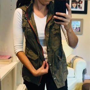 cute army green vest